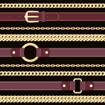 Cinturones de cuero y cadenas de oro sobre fondo negro de patrones sin fisuras