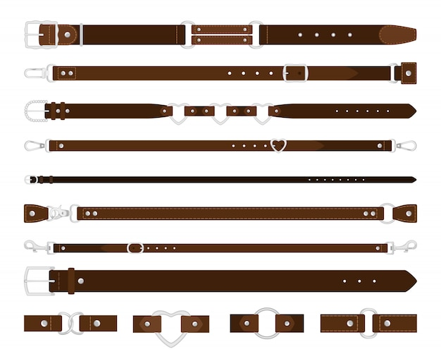 Cinturones de cuero conjunto aislado