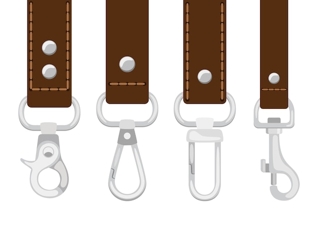 Cinturones de piel con cierre de mosquetón.