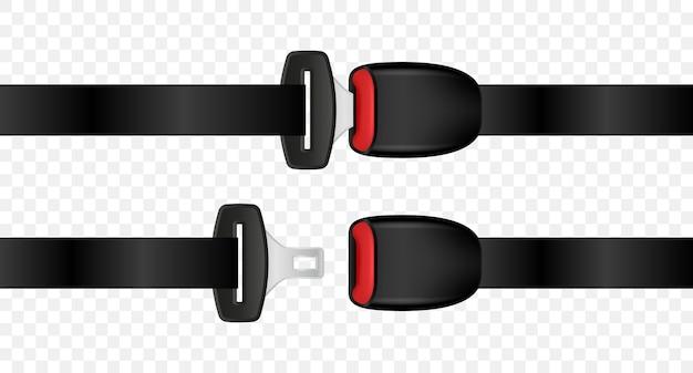 Cinturones de seguridad abiertos y cerrados de automóviles