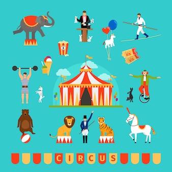 Circo y divertidos elementos de feria en estilo moderno y plano
