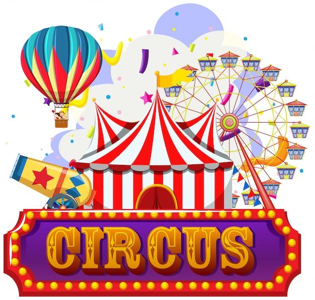 Circo, feria de diversión, plantilla de tema de parque de atracciones