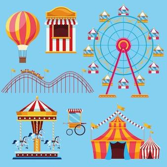 Circo y festival conjunto de iconos de dibujos animados