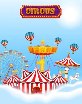 Circo en las nubes y el cielo con carpa y atracciones