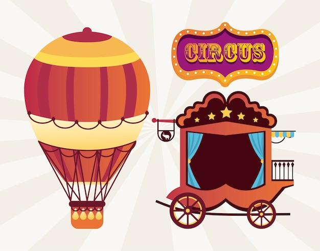 Circo tradicional carruaje vintage y globo de aire caliente con ilustración de banner