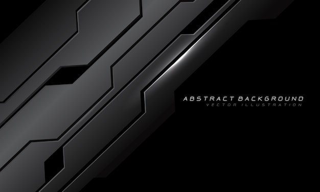 Circuito cibernético gris metálico abstracto con tecnología futurista moderna de diseño de espacio en blanco negro.