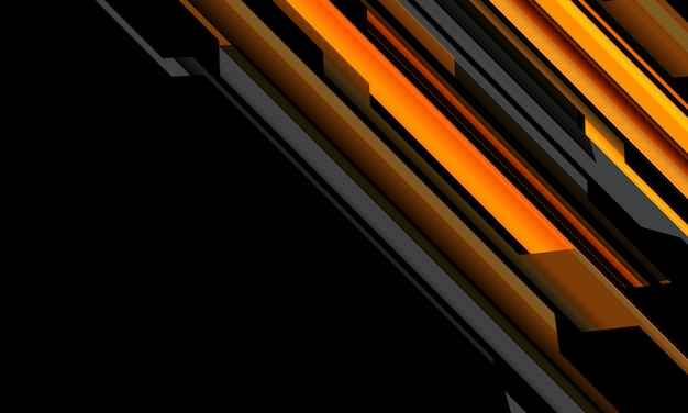 Circuito cibernético gris naranja amarillo abstracto sobre fondo de tecnología futurista moderna de espacio en blanco negro
