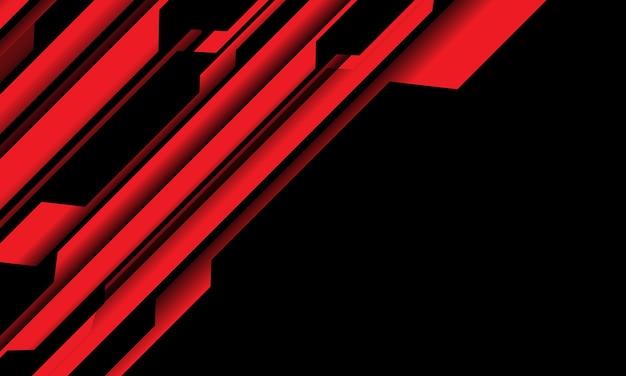 Circuito cibernético negro rojo abstracto con ilustración de fondo de tecnología futurista moderna de espacio en blanco.