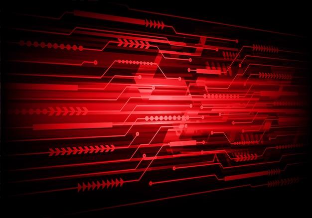 Circuito cibernético rojo tecnología futura concepto de fondo