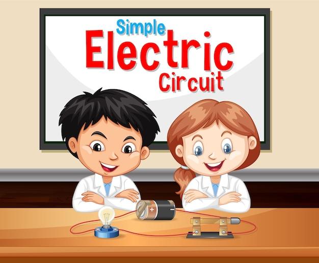 Circuito eléctrico simple con personaje de dibujos animados de niños científico