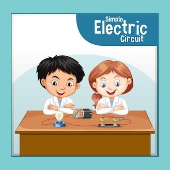Circuito eléctrico simple con personaje de dibujos animados de niños científicos