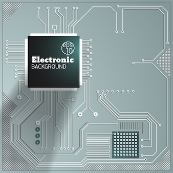 Circuito informático sobre fondo gris ilustración