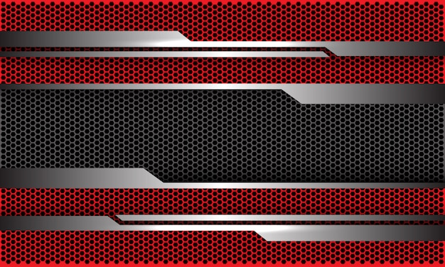 Circuito de plata rojo oscuro hexágono malla tecnología futurista fondo.