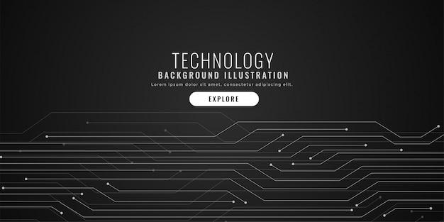 Circuito tecnológico líneas fondo negro digital