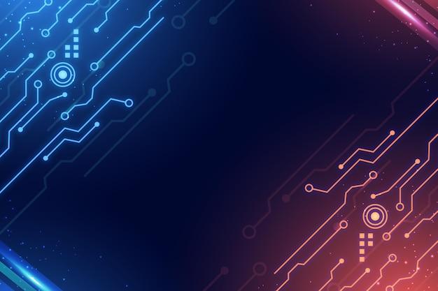 Circuitos fondo digital degradado azul y rojo.