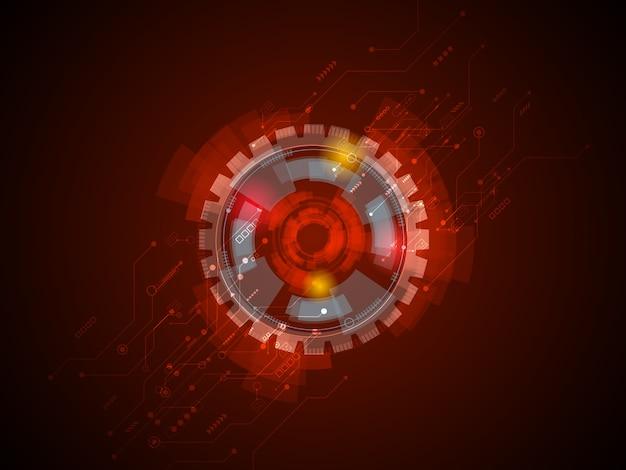 Circuitos de tecnología abstracta en fondo rojo