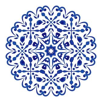 Circular decorativa floral azul y blanca.