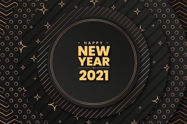 Circular dorado feliz año nuevo 2021