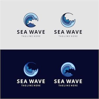 Círculo abstracto de lujo creativo establece plantilla de icono de logotipo de onda de agua de mar