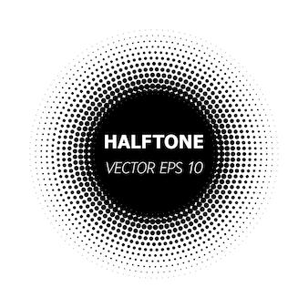 Círculo abstracto de semitono negro sobre fondo blanco.