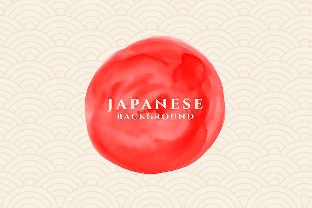 Círculo de acuarela con fondo de patrón japonés