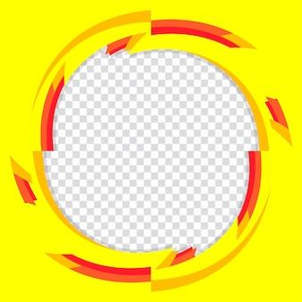 Círculo amarillo abstracto sobre fondo transparente. ilustración de vector de elemento de diseño para banner o folleto flyer.