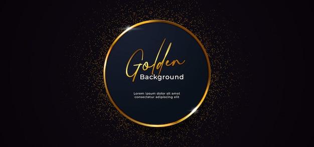 Círculo de anillo dorado brillante con efecto de decoración de brillo dorado sobre fondo azul oscuro