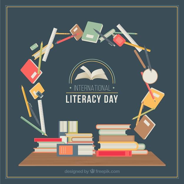 Círculo con artículos escolares para el día de la alfabetización