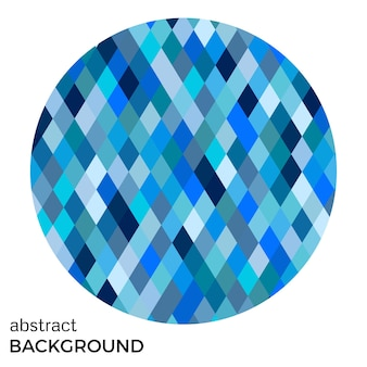Círculo azul de rombos aislado sobre fondo blanco. fondo de vector abstracto.