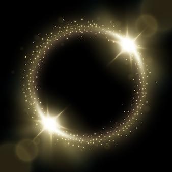 Círculo blanco brillante con ráfagas de luz