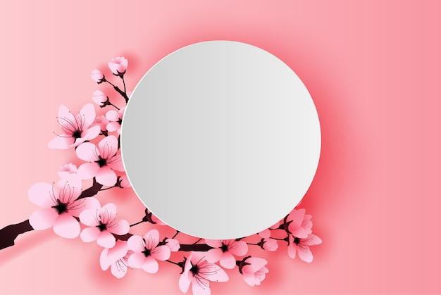 Círculo blanco primavera temporada cerezo en flor