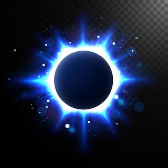 Círculo brillante abstracto, elegante eclipse iluminado. ilustración