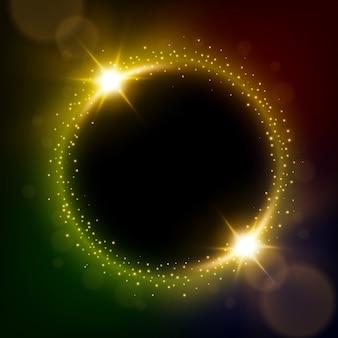 Círculo brillante de oro con ráfagas de luz