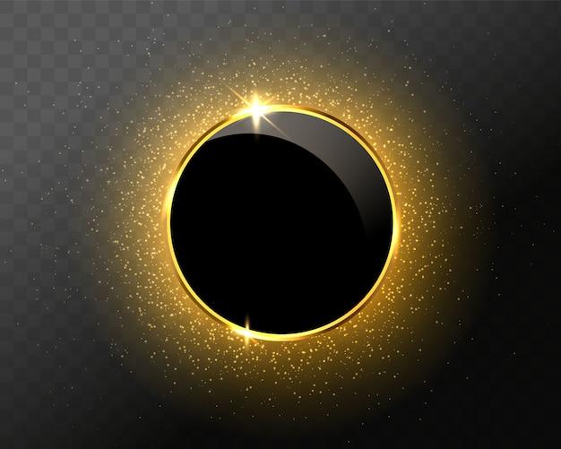 Círculo de brillo dorado brillante con efectos de luz