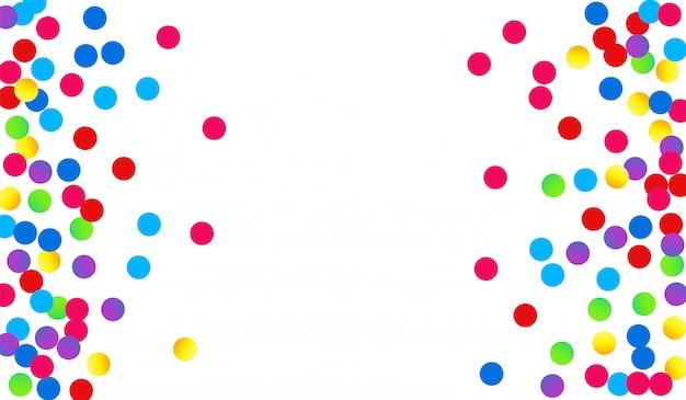 Círculo de color celebrar postal. banner de punto divertido