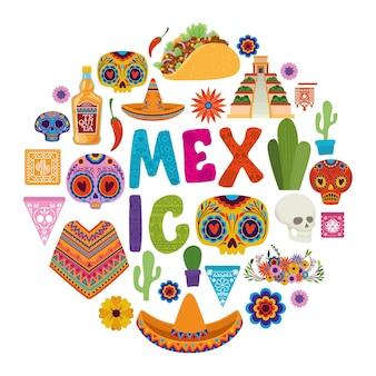 Círculo de conjunto de iconos y diseño del día de muertos de méxico, tema de turismo de cultura mexicana