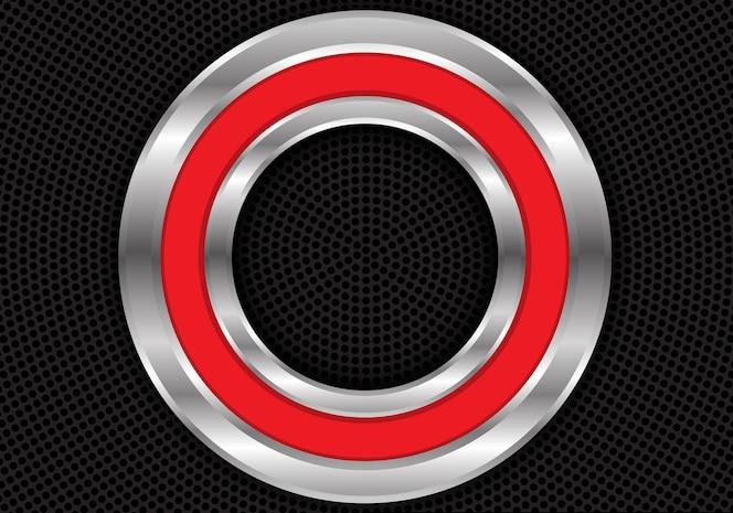 Círculo de plata rojo abstracto en fondo negro de la malla.