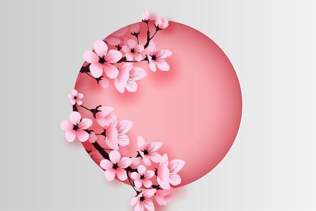 Círculo decorado primavera temporada flor de cerezo