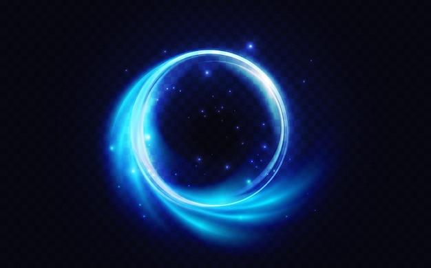 Círculo de destello azul brillante efecto de luz resplandor de neón forma de energía remolinos luminosos abstractos
