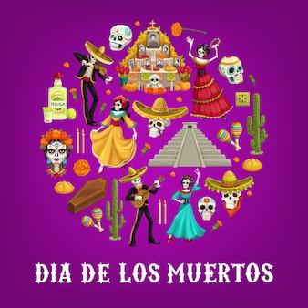 Círculo del día de muertos con calaveras de azúcar y flores de caléndula del día de los muertos mexicano. esqueletos con guitarras, sombreros y maracas, tequila de cactus, altar y velas, ataúd y pirámide
