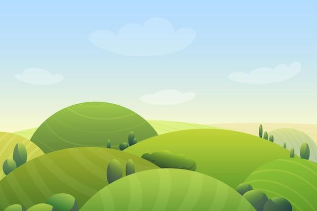 Círculo de dibujos animados colinas de prado verde con paisaje de árboles