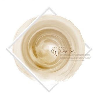 Círculo de diseño de pincel de acuarela marrón claro sobre marco cuadrado blanco