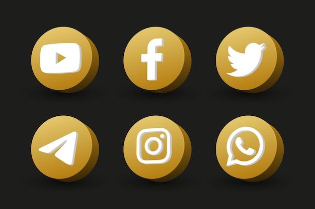 Círculo dorado aislado vista en perspectiva colección de iconos de logotipo de redes sociales en negro