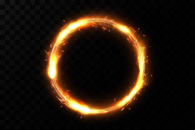 Círculo dorado con efectos de fuego.