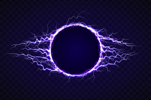 Círculo eléctrico con efecto rayo.