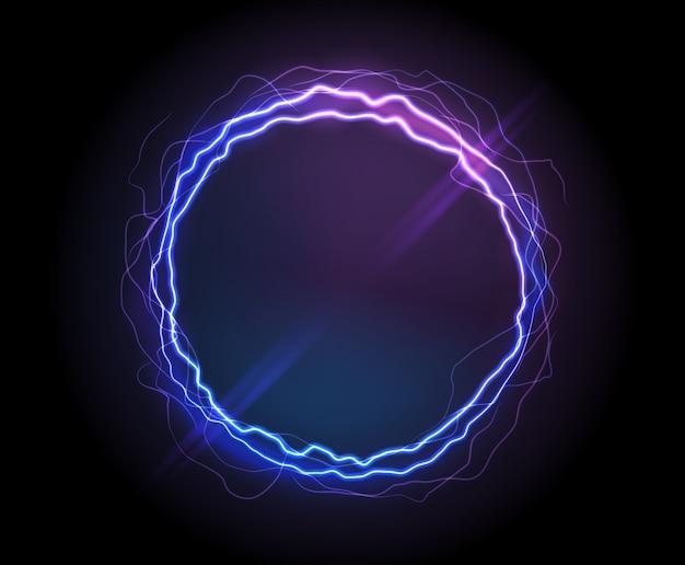 Círculo eléctrico realista o ronda de plasma abstracta.