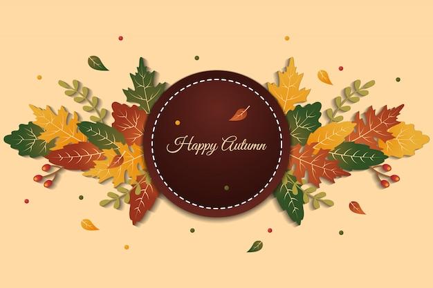 Círculo de elegante fondo de saludo feliz otoño con hojas de colores
