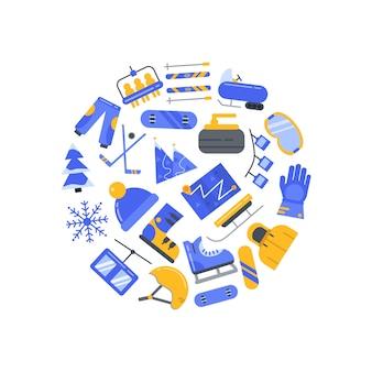Círculo de elementos de deportes de invierno
