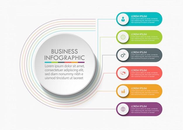 Círculo empresarial. diseño de iconos de infografía línea de tiempo