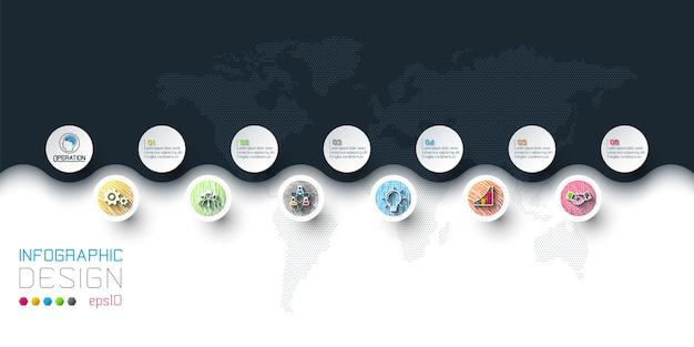 Círculo empresarial etiquetas forma infografía en horizontal.